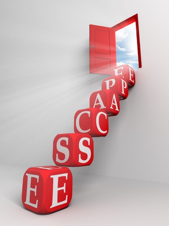 and escape: escape conceptual red door and box ladder in white room  Stock Photo