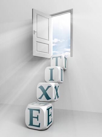 exit conceptual door and box ladder in white room  photo