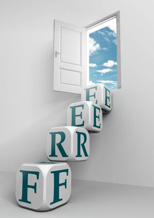 free conceptual door and box ladder in white room photo