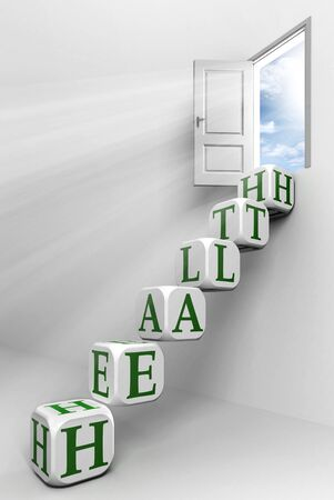 health conceptual door with sky and box green word  ladder in white room metaphor  photo