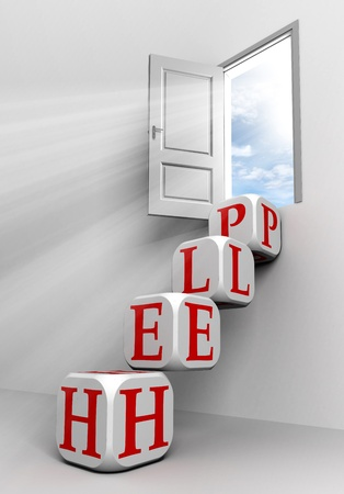help conceptual door with sky and box red word  ladder in white room metaphor  photo