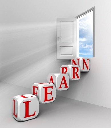 door way: learn conceptual door with sky and box red word  ladder in white room metaphor  Stock Photo