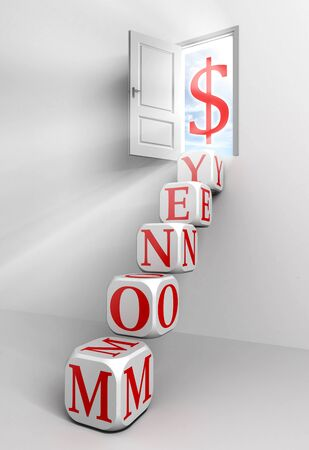 money conceptual door with sky and box red word  ladder in white room with dollar symbol metaphor  photo