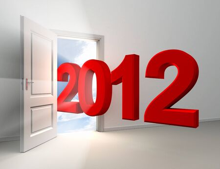 new year 2012 red number entering home door conceptual image photo
