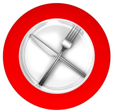 lifestyle dining: diet concept sign red and white with metal fork and knife isolated on white background