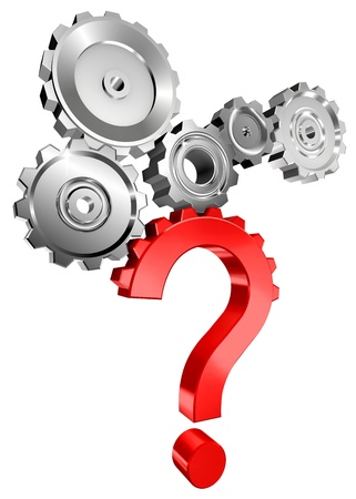 red question mark with metal cogs concept image isolated on white background photo