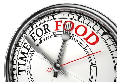 negocios comida: tiempo para la primer reloj comida concepto sobre fondo blanco con las palabras rojo y negro Foto de archivo