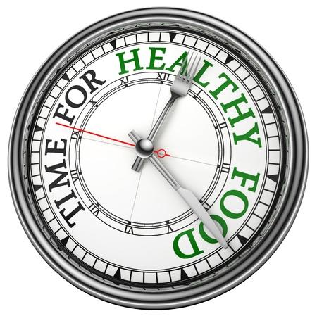 negocios comida: primer reloj de tiempo para la comida saludable concepto sobre fondo blanco con letras en rojo y negro