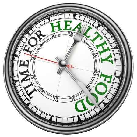 healthy food: time for healthy food concept clock closeup on white background with red and black words