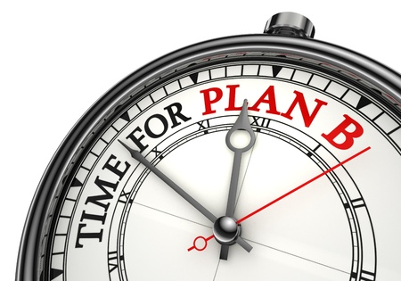 urgent care: time for plan b concept clock closeup on white background with red and black words