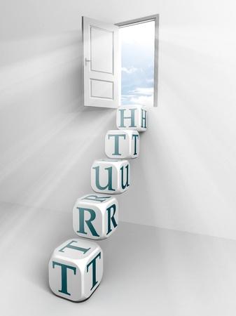 Prawda koncepcyjne drabina drzwi i pudełko w białym pokoju Zdjęcie Seryjne