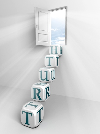 truth conceptual door and box ladder in white room