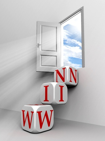 win conceptual door with sky and box red word  ladder in white room metaphor  Stock Photo - 11810589