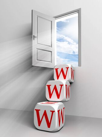 www conceptual door with sky and box red word  ladder in white room metaphor Stock Photo - 11810591