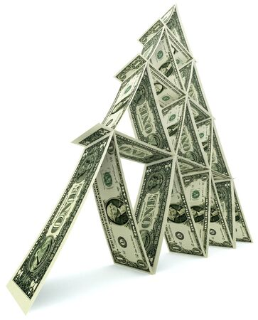 dollar tower of one dollar notes like card tower on white background photo
