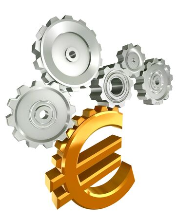 euro golden symbol and metal cogs isolated on white background photo