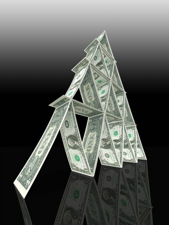 dollar tower of dollar notes like cardtower isolated on black background Stock Photo - 11810585