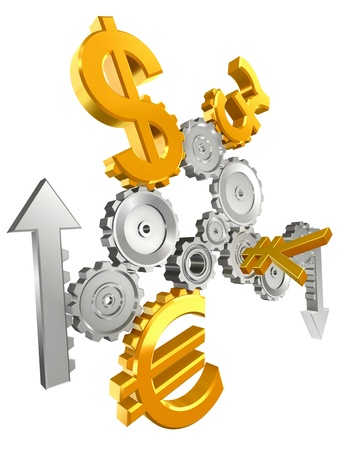 economy metal cogs and golden yen, dollar, euro and pound isolated on white background photo