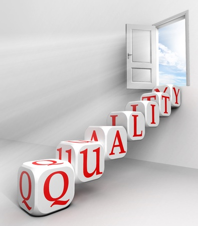 quality red word conceptual door with sky and box ladder in white room metaphor  photo