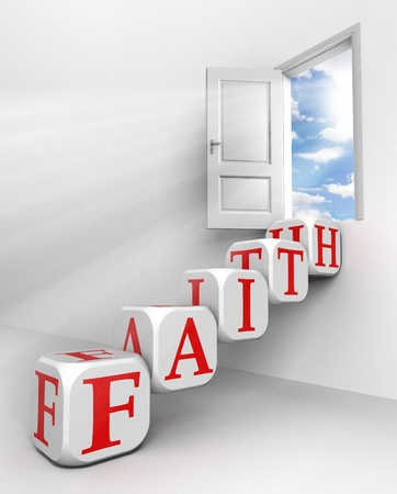 word cloud: faith red word conceptual door with sky and box ladder in white room metaphor