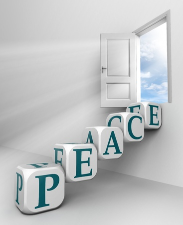 world peace: peace red word conceptual door with sky and box ladder in white room metaphor