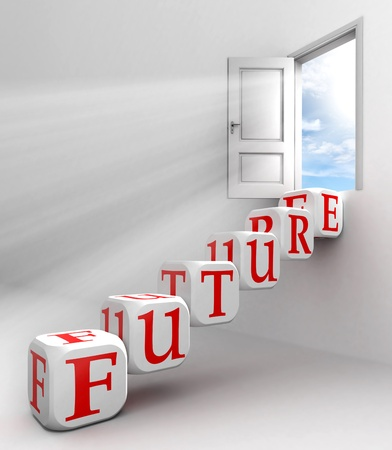 opportunity sign: future red word conceptual door with sky and box ladder in white room metaphor