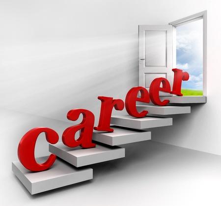 キャリア: 空に白い背景の上のビュー概念のドアを開くまで階段上の赤いキャリアの単語