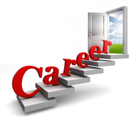 new job: career red word on stair up to open conceptual door with view to sky on white background