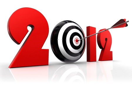 2012 new year and conceptual target with arrow reflecting on white background photo