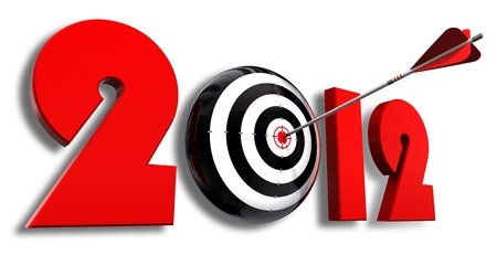 2012 new year and conceptual target with arrow in white background Stock Photo - 11929026