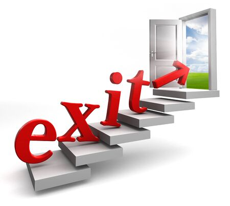 exit red word conceptual door on stair up to sky on white background photo