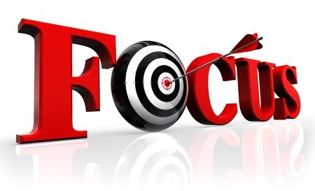 focus rot Wort und konzeptionelle Ziel mit Pfeil reflektieren auf weißem Hintergrund