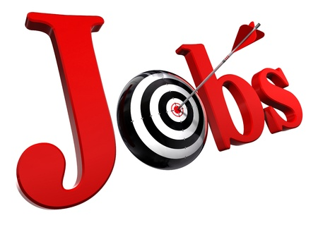 hired: jobs red word and conceptual target with arrow isolated on white background