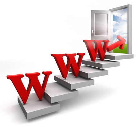 www red word conceptual door on stair up to sky on white background Stock Photo - 11929034