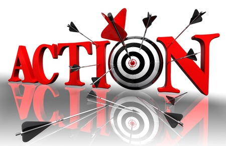 active arrow: action red word and conceptual target with arrow on white background Stock Photo