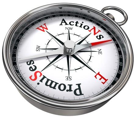 vers  ¶hnung: Aktion vs Konzept verspricht Kompass mit schwarzen, roten Buchstaben auf weißem Hintergrund Lizenzfreie Bilder
