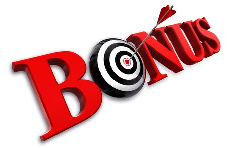 pay: bonus red word and conceptual target with arrow on white background