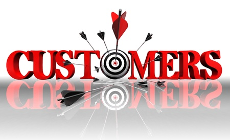sales strategy: cuctomers red word and conceptual target with arrow on white background