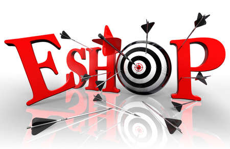 eshop red word and conceptual target with arrow on white background photo