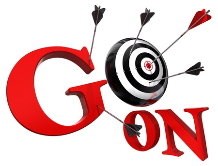go on red words and conceptual target with arrow isolated on white background photo