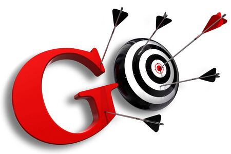 go red word and conceptual target with arrow on white background Stock Photo - 12117860