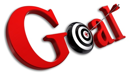 business symbols metaphors: goal red word and conceptual target with arrow on white background Stock Photo