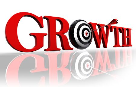 growth red word and conceptual target with arrow on white background Stock Photo - 12117869