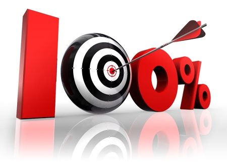 reflect: hundred per cent 100% red with conceptual target and arrow reflect on white background Stock Photo