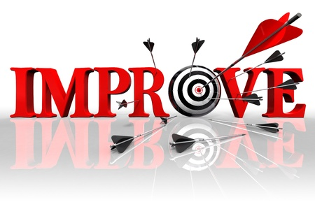 improve red word and conceptual target with arrow on white background photo