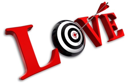 love target: love red word and conceptual target with arrow on white background