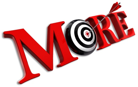more red word and conceptual target with arrow on white background photo