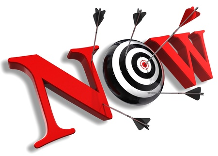 now red word and conceptual target with arrow on white background photo