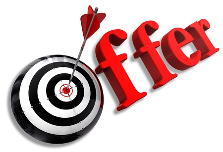 offer red word and conceptual target with arrow on white background photo
