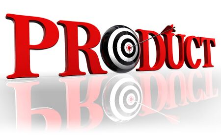 product red word and conceptual target with arrow on white background photo
